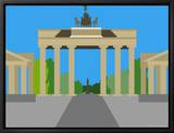 Illustration of the Brandenburg Gate, Berlin, Germany Framed Canvas Print by Michael Kelly