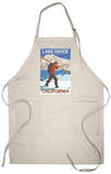 Skier Carrying Snow Skis, Lake Tahoe, California Apron Apron