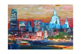 London with St Paul Cathedral at Dusk Premium Giclee Print by Markus Bleichner