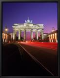 Brandenburg Gate at Night, Berlin, Germany Framed Canvas Print by Terry Why
