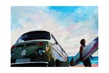 The Green VW Surf Bus Premium Giclee Print by Markus Bleichner