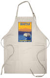 Ferry and Mountains, Seattle, Washington Apron Apron