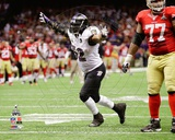 Ray Lewis Celebrates the final play of his NFL career Super Bowl XLVII Photo