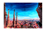 Barcelona City View and Sagrada Familia Premium Giclee Print by Markus Bleichner