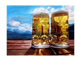 Two Glasses of Beer with Mountains Posters por Markus Bleichner