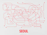 Seoul (Gray &amp; Red) Serigraph by  Line Posters