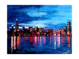Chicago Skyline at Night Premium Giclee Print by Martina Bleichner