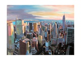 New York City - Manhattan Skyline in Warm Sunlight Premium Giclee Print by Markus Bleichner