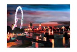 London Eye Night Premium Giclee Print by Markus Bleichner