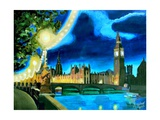 Houses of Parliament and Big Ben at Night Posters by Martina Bleichner