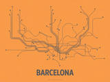 Barcelona (Orange & Gray) Serigraph by  LinePosters