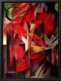 Reven, 1913 Innrammet lerretstrykk av Franz Marc