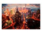 Shanghai Skyline at Dusk with Yangtze Premium Giclee Print by Markus Bleichner