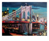 New York City - Manhattan Bridge at Night Premium Giclee Print by Markus Bleichner