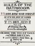 Rules of the Bathroom Dřevěná cedule