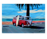 The Red Volkswagen with Palm and Ocean Premium Giclee Print by Markus Bleichner