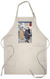Samurai Miyamoto Musashi, Japanese Wood-Cut Print Apron Apron