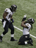Super Bowl XLVII: Ravens vs 49ers - Courtney Upshaw and Dannell Ellerbe Photographic Print by Charlie Riedel