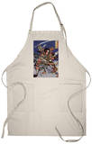 The Samurai Warriors Ichijo Jiro Tadanori and Notonokami Noritsune, Japanese Wood-Cut Print Apron Apron