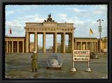 Berlin Divided: The Brandenburg Gate Stands Isolated Between East and West Berlin Framed Canvas Print