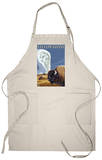 Yellowstone - Bison with Old Faithful Apron Apron