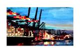 Port of Hamburg with Container Ship Reproduction procédé giclée Premium par Markus Bleichner