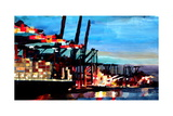 Port of Hamburg with Container Ship Premium Giclee Print by Markus Bleichner