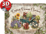 English Flower Garden Tin Sign