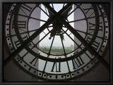 View Across Seine River from Transparent Face of Clock in the Musee d'Orsay, Paris, France Innrammet lerretstrykk av Jim Zuckerman