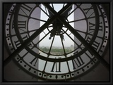 View Across Seine River from Transparent Face of Clock in the Musee d'Orsay, Paris, France Framed Canvas Print by Jim Zuckerman