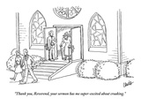 """Thank you, Reverend, your sermon has me super-excited about croaking."" - New Yorker Cartoon Premium Giclee Print by Eric Lewis"