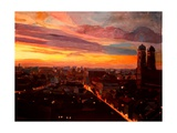Munich Sunset with Church of Our Lady Premium Giclee Print by Markus Bleichner
