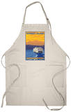 Ferry and Mountains, Whidbey Island, Washington Apron Apron