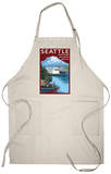Ferry &amp; Mount Rainier Scene - Seattle, Washington Apron Apron