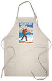 Skier Carrying Snow Skis, Whistler, BC Canada Apron Apron
