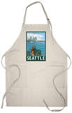 Seattle, Washington Skyline - Lantern Press Original Poster Apron Apron