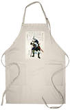 Ronin Grimacing Fiercely, Japanese Wood-Cut Print Apron Apron