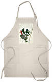 Ronin Lunging Forward, Japanese Wood-Cut Print Apron Apron
