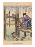 Wisteria blossoms at Kameido Giclee Print by Josiah Conder