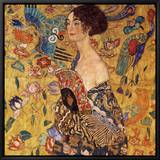 Lady with a Fan Framed Canvas Print by Gustav Klimt