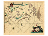 1675, A Chart of the/Coast of/AMERICA/from New found Land to Cape/Cod by Iohn Seller Giclee Print
