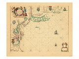 1675, A Chart/of the Sea coasts of/NEW=-ENGLAND/NEW=JARSEY VIRGINIA/MARYLAND and CAROLINA Giclee Print