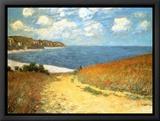 Cammino al mare tra campi di grano, a Pourville, 1882 Stampa su tela con cornice di Claude Monet