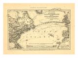 1869, Atlantic Ocean, Telegraph Communication between France, England, and America Reproduction procédé giclée
