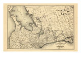 1876, Ontario Province - Railway and Postal Map 2, Canada Giclee Print