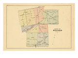 1876, Oxford County Outline Map, Canada Giclee Print