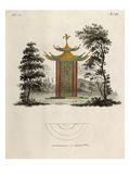 Oriental pagoda and plan Reproduction procédé giclée par Johann Gottfried Grohmann