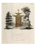 Oriental pagoda and plan Giclee Print by Johann Gottfried Grohmann