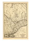 1876, Ontario Province - Railway and Postal Map 3, Canada Giclee Print