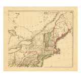 1812, Landkarte von New Hampshire, Massachusetts, Maine, Connecticut, New Jersey, New York, Pennsylvania, Rhode Island Giclée-Druck